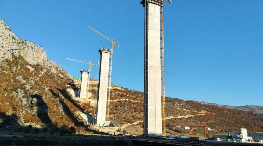 Joining piers of the highest bridge in the former Yugoslavia begins